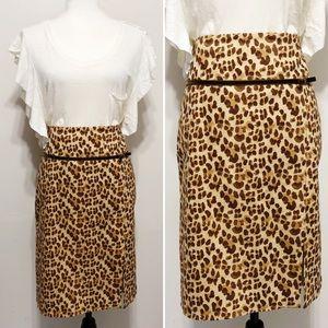 Textured Leopard-Print Straight Skirt 6-0098